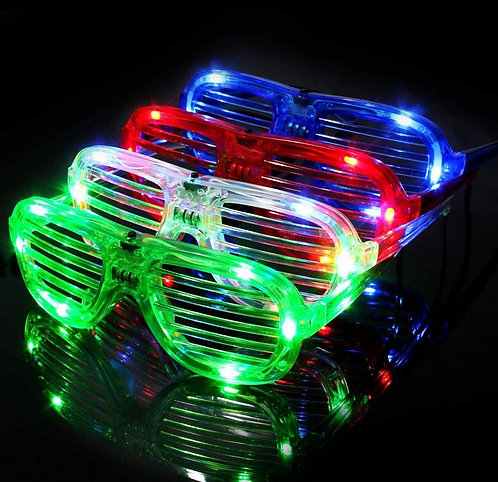 Light Up Glasses - 4 Pack Shutter Shades Glow in the Dark LED Party Novelty