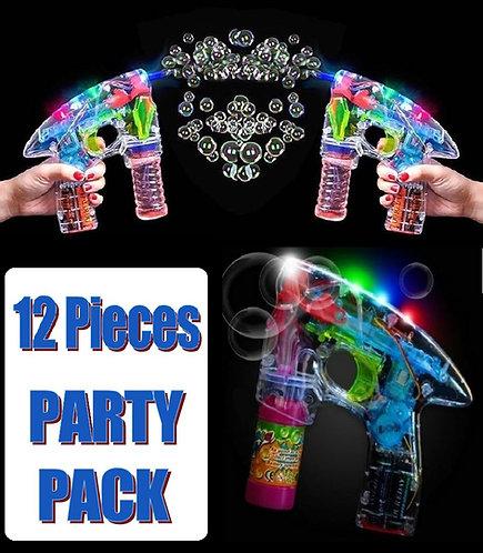 12 Pack of Light Up Bubble Gun Blower Toys