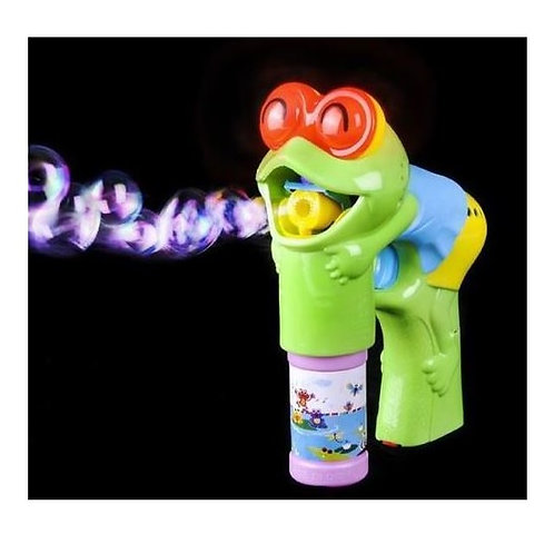 Light Up Bubble Gun FROG with LED Lights Flashing Eyes With Sound Blower Shooter