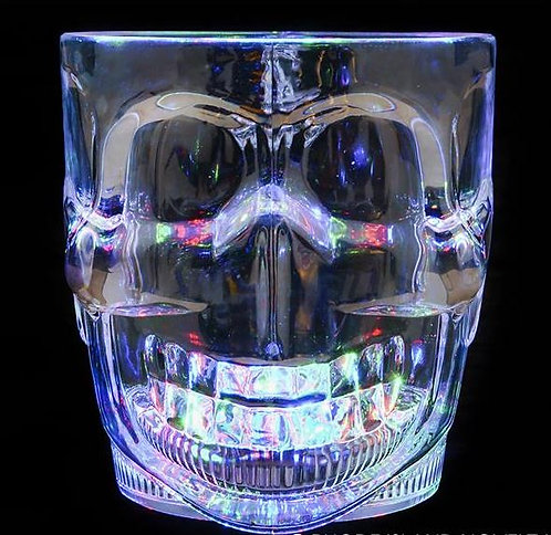 Light Up Skull Glass Mug - LED Halloween Holiday Party Cup With 3 Modes