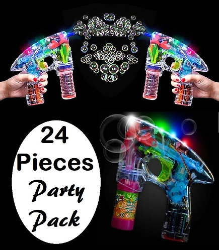 24 Pack of Light Up Bubble Gun Blower Toys
