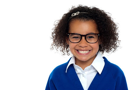 African origin bespectacled primary girl