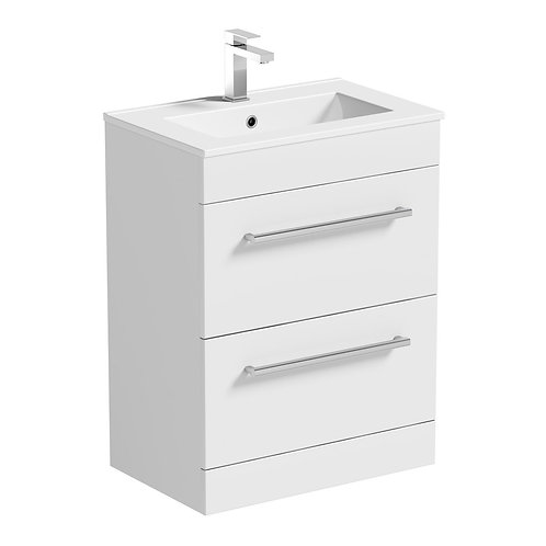 Omega glossy white vanity with basin