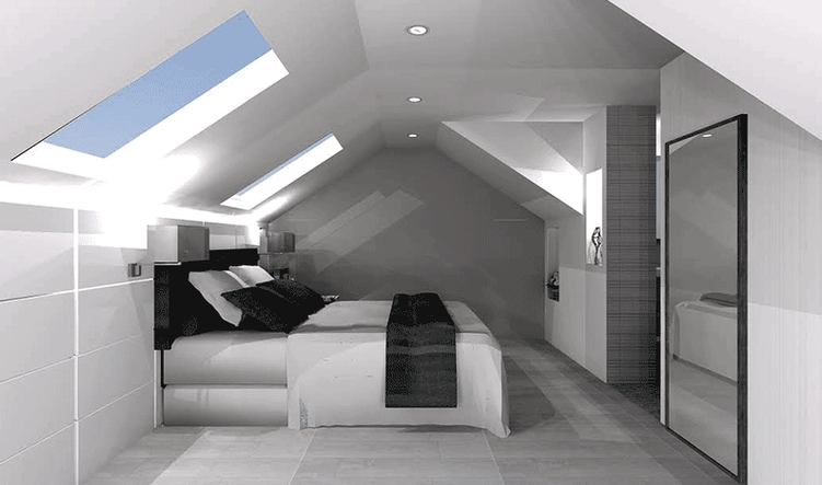 Basic loft         bedroom     3d render