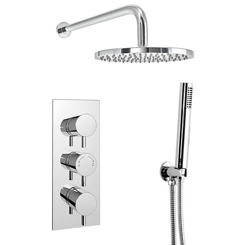 Round concealed thermostatic shower set