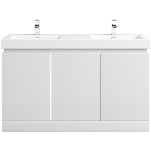 Floor-standing double basin vanity unit