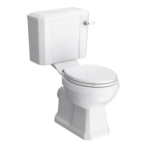 Traditional toilet with white soft-close seat