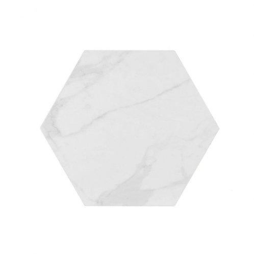 Calacatta hexagonal satin marble effect tile