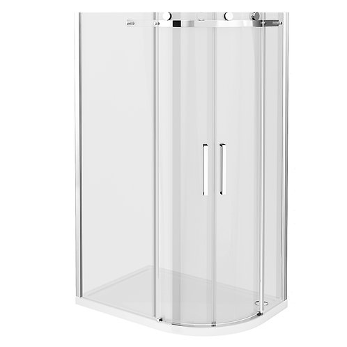 Frameless offset sliding door shower enclosure with slimline tray 800 x 1200