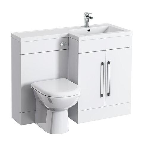 Combination Bathroom Suite Unit with Basin + Round Toilet L1100
