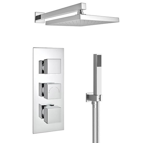 Square thermostatic shower set