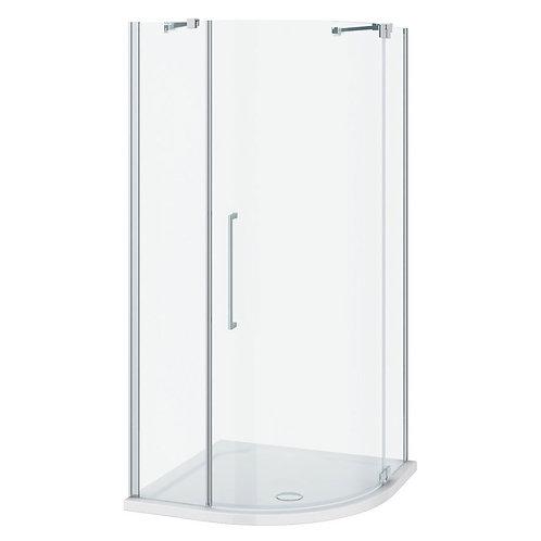 Frameless corner shower enclosure with slimline shower tray