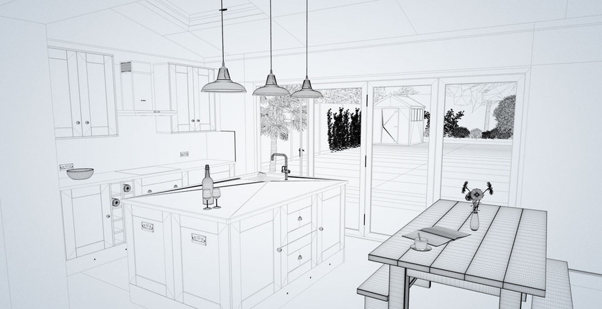 Vector technical      shop drawing for a kitchen