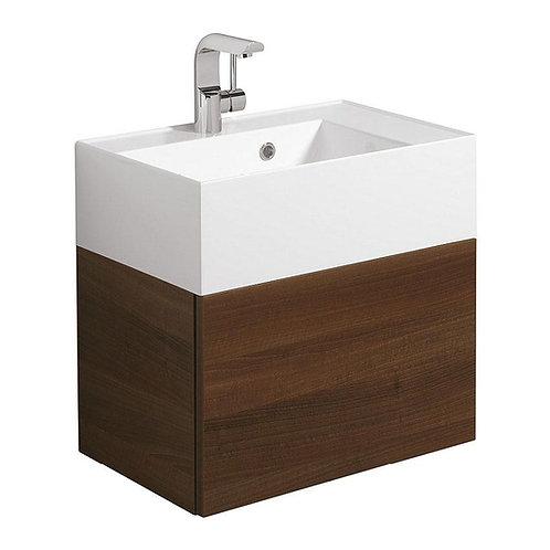 Bauhaus walnut vanity unit with basin