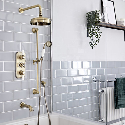Brushed brass traditional thermostatic concealed shower set (3 outlets)
