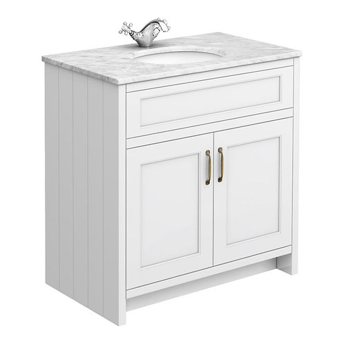 Traditional vanity unit with marble top basin top