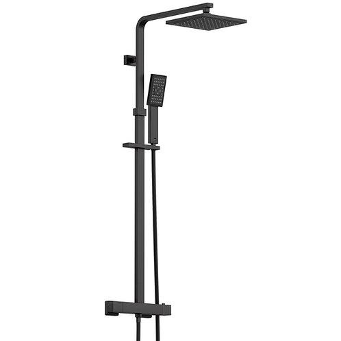 Black thermostatic bar valve shower