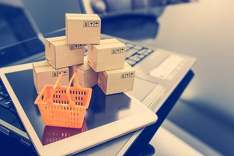 Mini orange shopping basket on a smart d