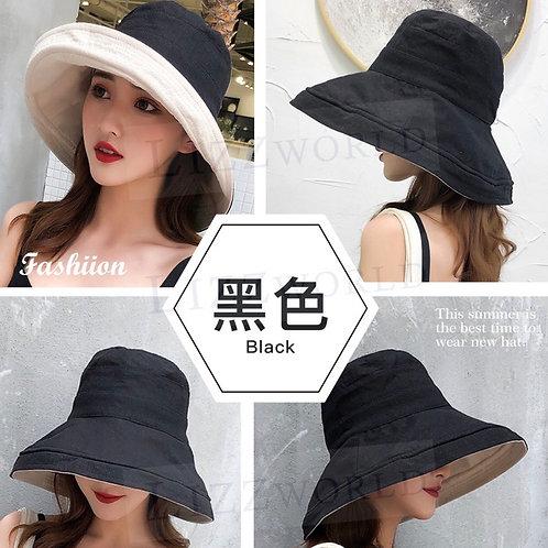 經典雙面素色+大帽沿遮陽帽 (黑色)