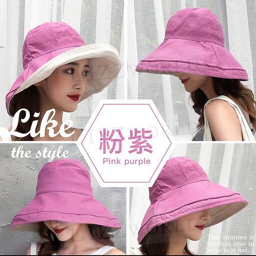 經典雙面素色+大帽沿遮陽帽 (粉紫色)