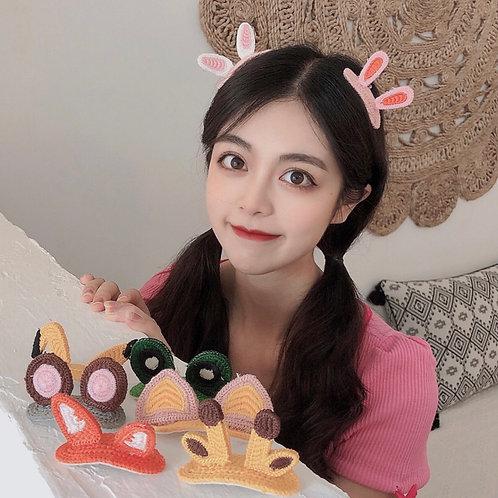 日韓新款動物可愛毛線立體髮夾(粉色兔耳朵)