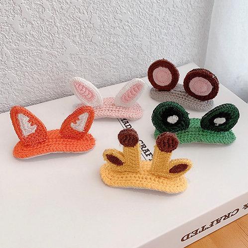 日韓新款動物可愛毛線立體髮夾(橘色尖耳朵)