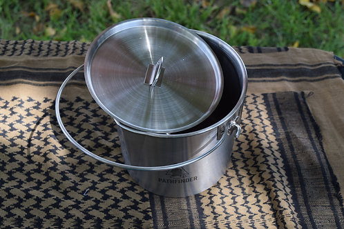 Stainless Steel 64oz Bush Pot & Lid