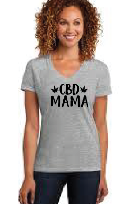 Grey Vneck CBD Mama T shirt