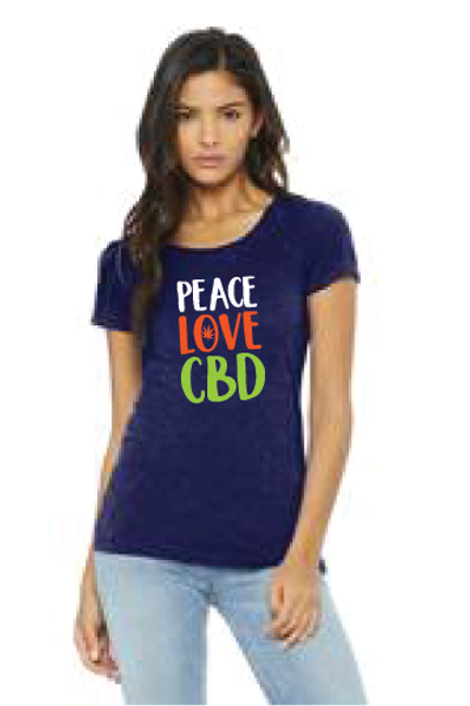Peace Love & CBD Ladies Fitted T shirt