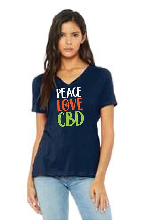 Peace Love & CBD Ladies Vneck T shirt