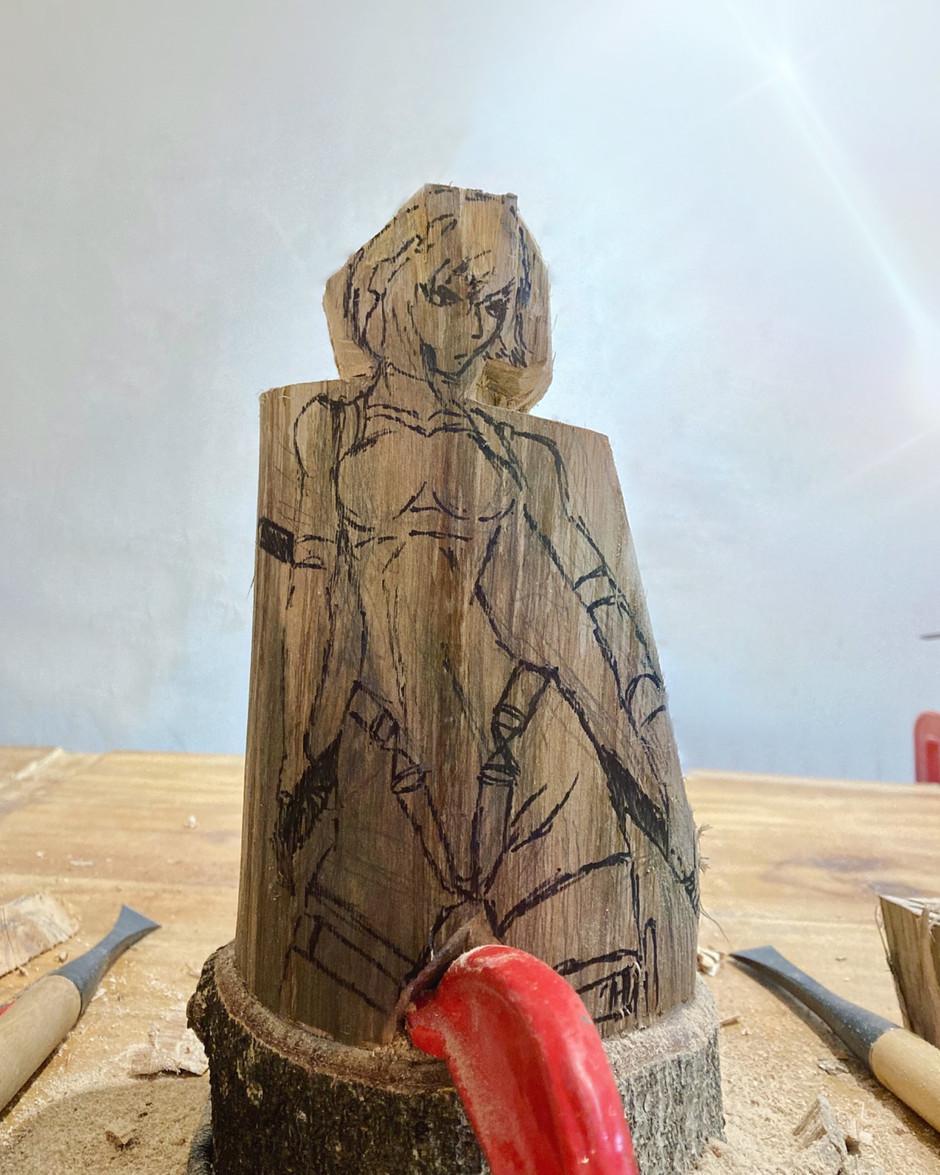 草薙素子木雕
