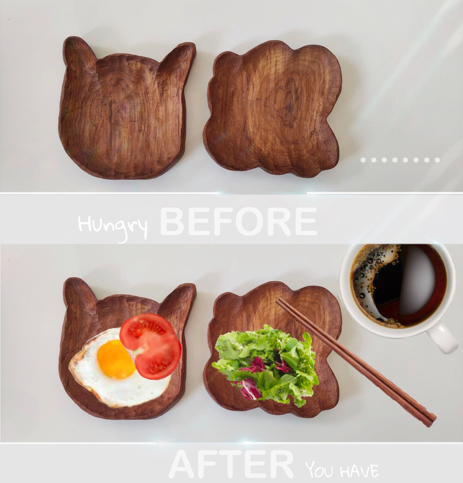 Wood plate before & after