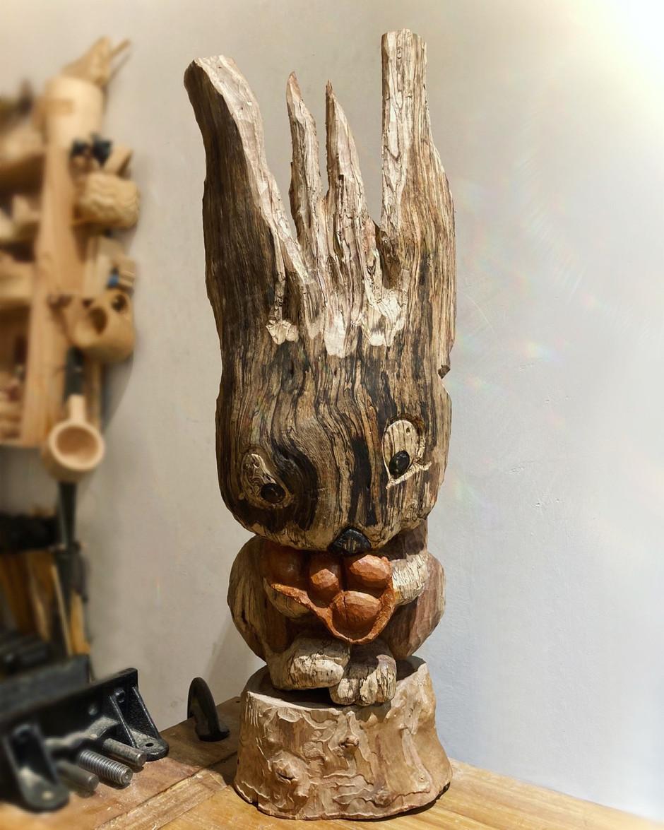 Rabbit wood sculpture~