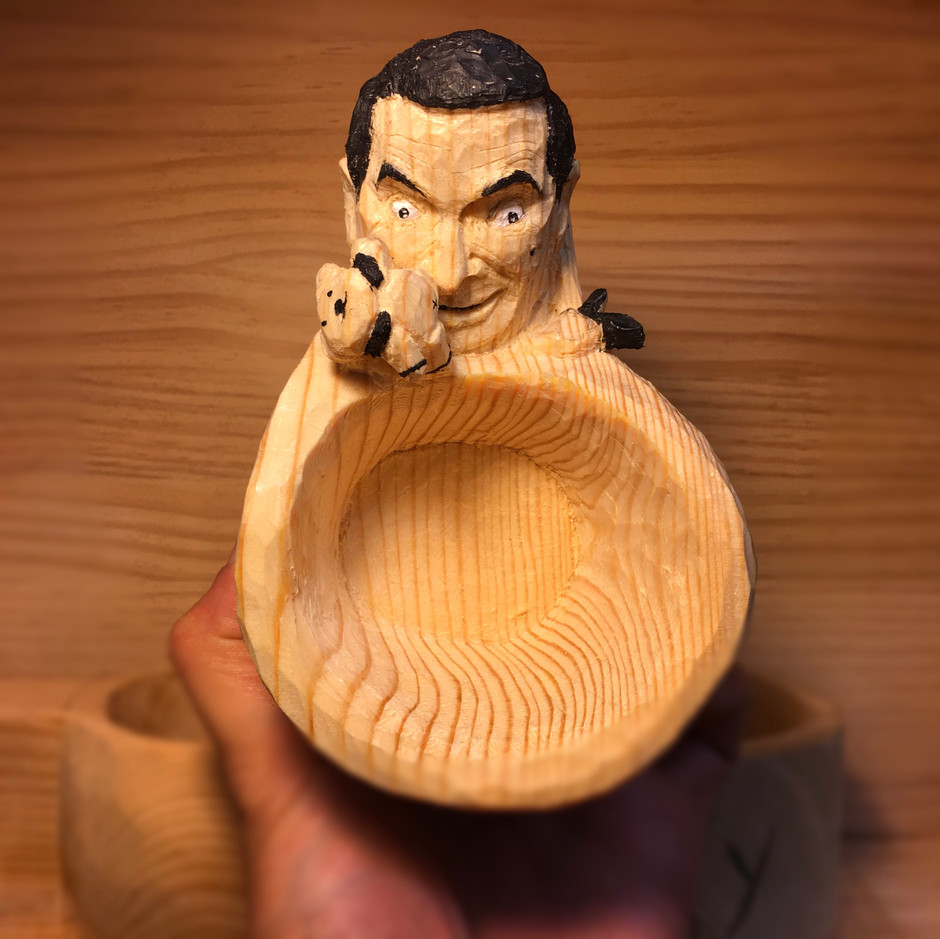 Mr.Bean wood cup