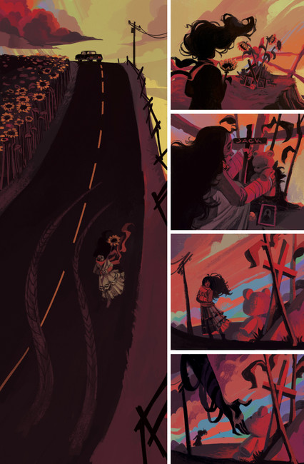 """Wayward Kindred --- TO Comix Press May 2020 --- """"The God of Roadside Memorials"""" --- Writer: Tate Brombal Editor: Allison O'Toole Artist: V. Gagnon"""