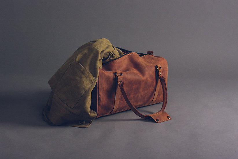 "Leather Travel Bag 20"" / Leather Duffle Bag"