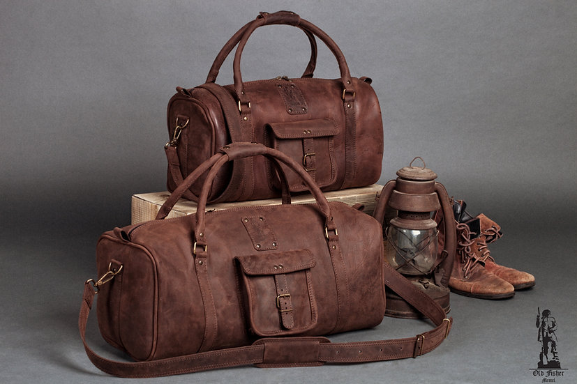 Unique Chocolate Brown Kit of Leather Travel Bags