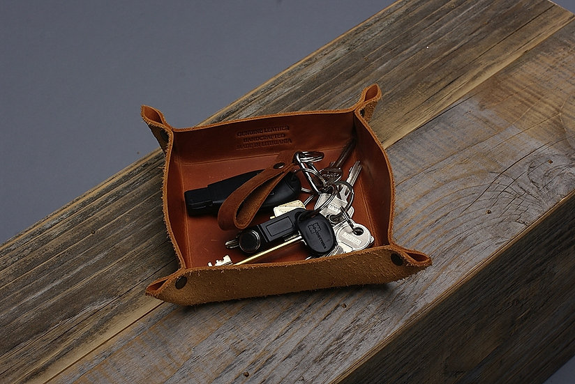 Rustic Style Storage Leather Tray