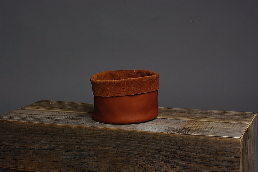 Rustic Style Storage Leather Basket / Decorative Hide Basket