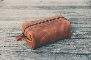 Unisex Leather Cosmetic Bag / Leather Toiletry Bag