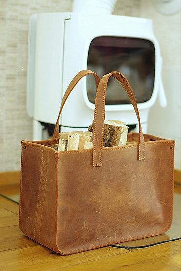 Handmade Leather Fire Log Basket / Firewood Basket