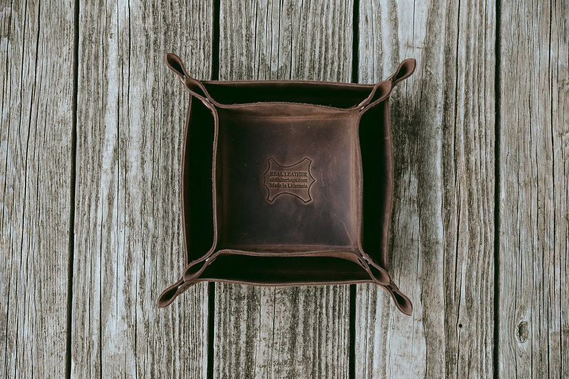 Rustic Style Storage Dark Brown Leather Tray