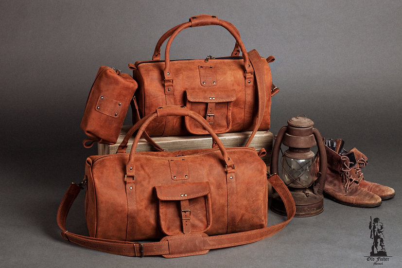 Unique Caramel Brown Kit of Leather Travel Bags / Leather Duffle Bags