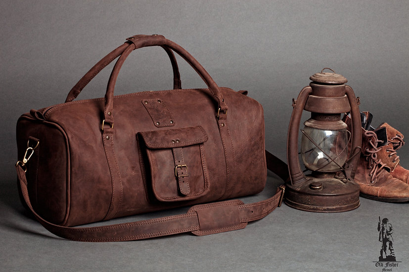 Dark Brown Leather Travel Bag  / Leather Duffle Bag