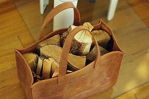 Handmade Leather Fire Log Basket