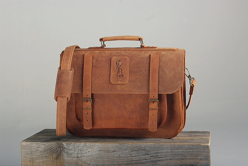 "Leather Briefcase 16"" 2 comp. / Leather Messenger Bag"