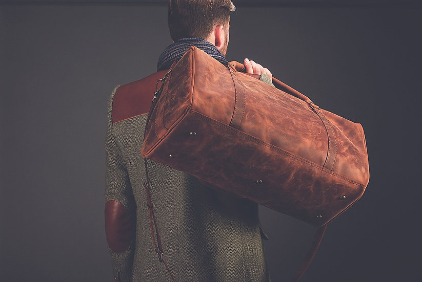"Leather Travel Bag 22"" / Leather Duffle Bag"