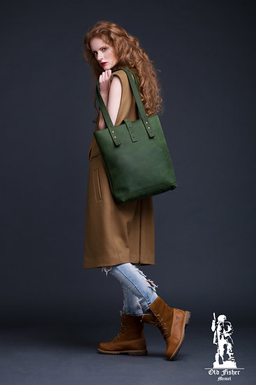 Green Leather Tote Bag / Women Handbag