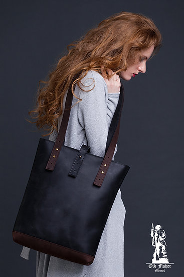 Black Brown Leather Tote Bag / Women Handbag