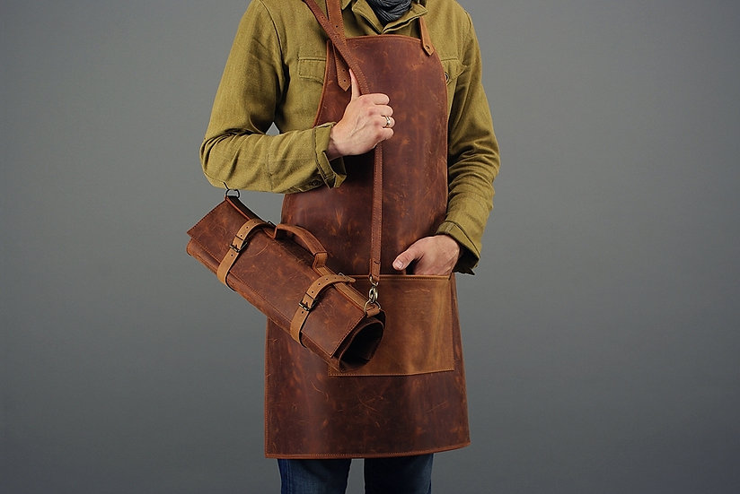 Leather Knife Roll Case / Roll Chef Knife Case